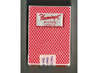 TIN WITH 2 DECKS OF FLAMINGO HILTON LAUGHLIN PLAYING CARDS USED IN CASINO!