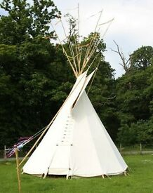 Tipi Tepee 17foot cover & lining, poles, lacing pins, ground pegs, door, ropes.