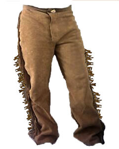 UP TO XXXL 52 CUSTOM RENDEZVOUS LEATHER COWHIDE FRONTIER PANTS A.K.A. BUCKSKIN