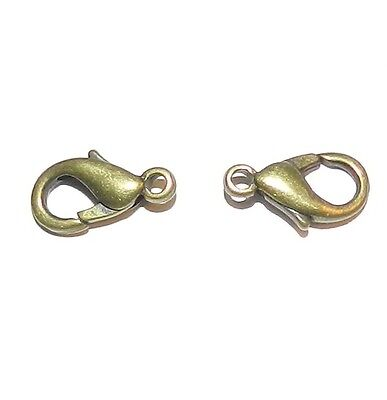 M123d Brass Finished 11mm Lobster Claw Clasp Jewelry Component 2/pkg