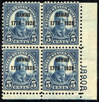 US SC# 648 Block of 4 Postage Stamps Theodore Roosevelt MINT LH OG 1928