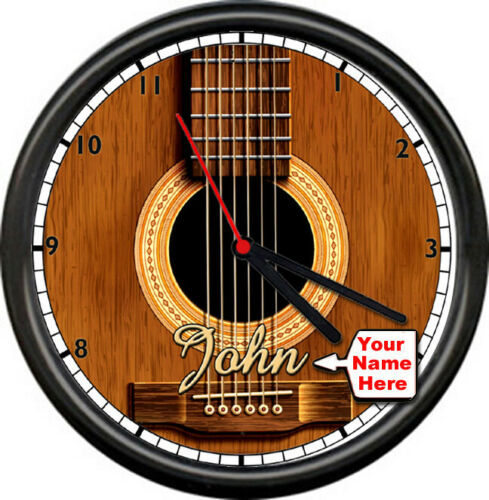 Personalized Name Guitar Shop Musician Luthier Instrument Sign Wall Clock