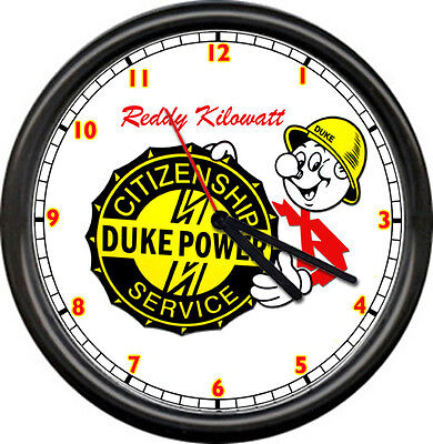 Reddy Kilowatt Duke Power Electric Service Company Electrician Sign Wall Clock