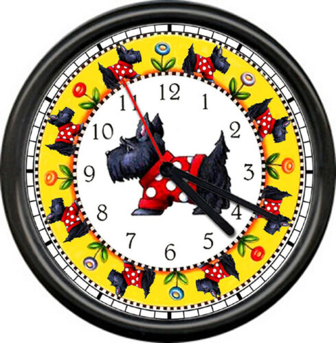 Scottie Dog In Red Sweater Scottish Terrier Collectible Gift Sign Wall Clock