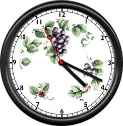 Grapes Grapevine Leaves 10 inch Kitchen Wall Clock
