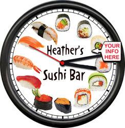 Personalized Sushi Lover Bar Sashimi Japanese Cafe Asian Cuisine Sign Wall Clock
