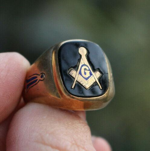 Vintage Freemasons Masons Masonry Masonic 10K Gold Black Onyx Member Ring Sz 7.5
