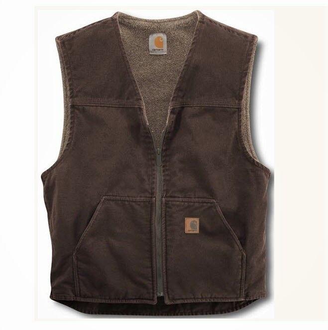 Carhartt Men's  Sherpa Lined Sandstone Rugged Vest V26,Dark