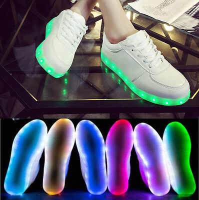 Men Women LED Light up Shoes Trainer Lace-up Sneakers Kids Boys Shoes USB Charge