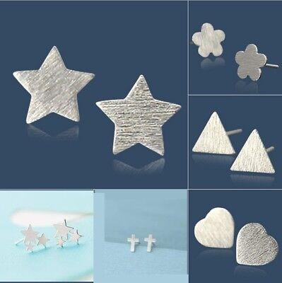 7mm Star Stud Earrings (925 Sterling Silver 7mm plain Cross Heart Star post stud earrings gift Box)
