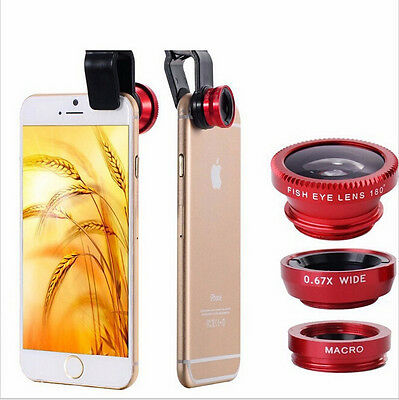 3 in1 Fisheye Wide-angle Lens for iphone 5 6 samsung Peixe Para Celular Lentes (Celulares Apple Phone 3)
