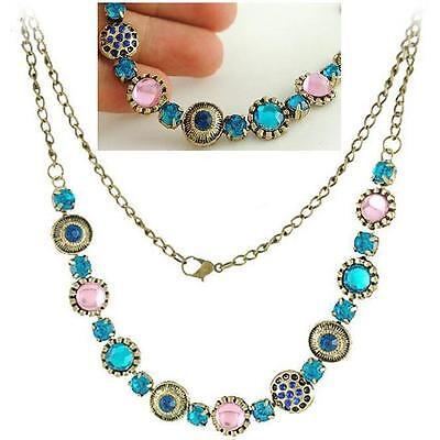 Halskette Kette türkis blau rosa Trachtenschmuck Antik Style Strass Collier edel