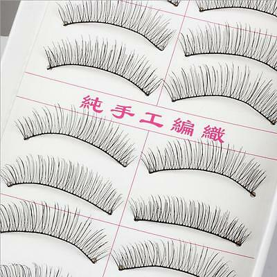 New 10 Pairs Black False Eyelashes Handmade Long Thick Natural Fake Eye Lashes