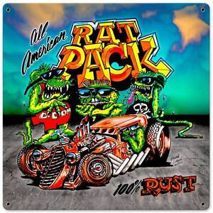 Hot rod rat rod pack metal sign man cave garage club shop for Garage pack tole colomiers
