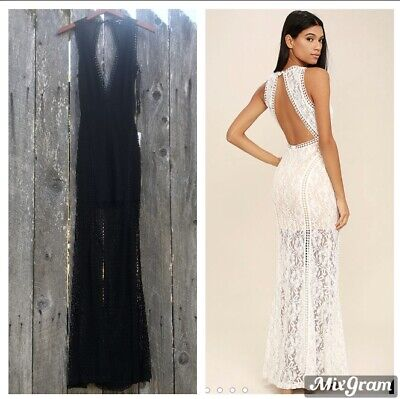 Lulu's Better With You Black Lace Open Back Maxi Dress Sz M Prom Cocktail