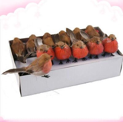 Box of 24pcs Artificial Christmas Xmas Robin Feather Birds Tree Decoration Craft