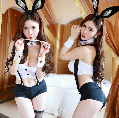 Female White Rabbit Costume (Sexy Bunny Girl Costume White Black Rabbit Girl Cosplay Fashion)