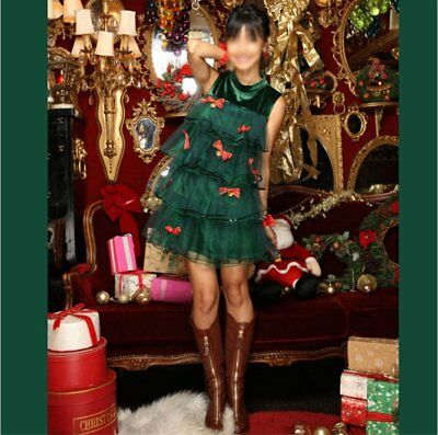 Costume Tree (Adult Christmas Tree Costume Ladies Novelty Xmas Tree Fancy Dress Outfit)