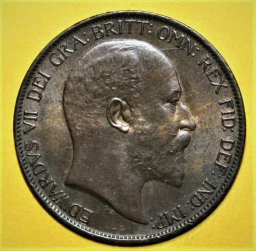 Great Britain 1 Penny 1904 AU / Uncirculated Coin - King Edwards VII