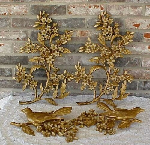 Vintage Syroco Dogwood Branches Birds Wall Hangings Set of 4 USA