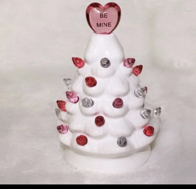 "WHIMSICAL MISS VALENTINE CERAMIC 5"" MINI LED PINK TREE BATTERY OPERATE CHRISTMAS"