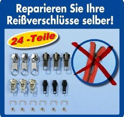 Reißverschluss Reparatur Set 24 teilig Zipper Schieber Metall Reparaturset NEU