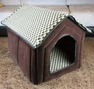 New-Fashion-Classical-Grid-Pet-Dog-Cat-House-Bed-Brown-Large-XL