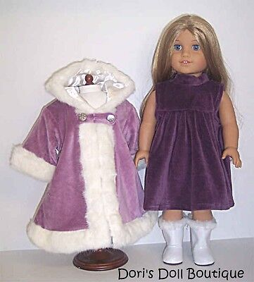 Doll Clothes fits American Girl * PURPLE VELOUR DRESS & LAVENDER COAT * on Rummage