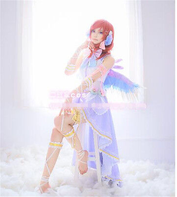 Love Live White Valentine's Day Nishikino Maki Cosplay Costume Purple Dress Wing