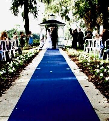 Royal Blue Aisle Runner  50 ft long X 38 in wide ~  Resists Punctures! Weddings