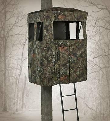2 Man Ladder Tree Stand Camo Cover Blind Sheild Zipper Entry Deer Hunter -