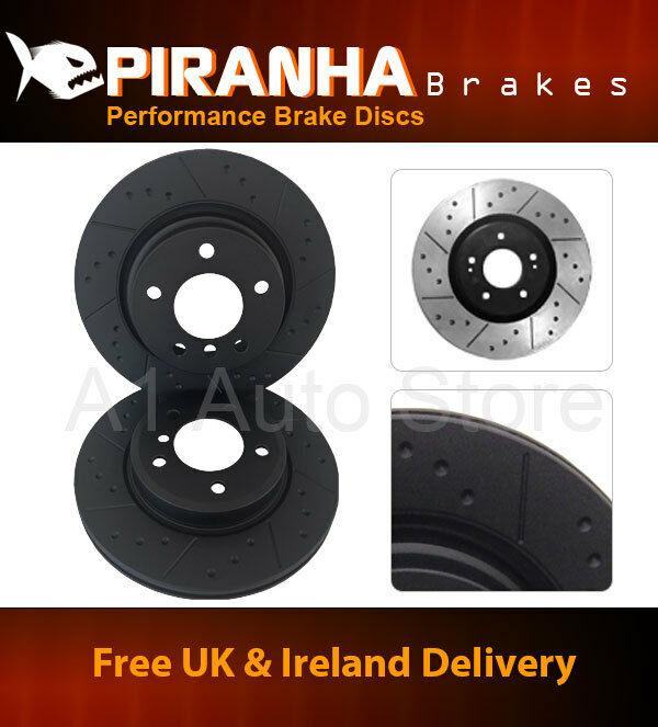 Lexus GS430 4.3 00-05 Front Brake Discs Piranha Black Dimpled Grooved