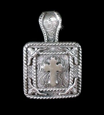 "Western Jewelry Cowgirl 1 3/8"" Antique Silver Cross Longhorn Concho Pendant Kit"