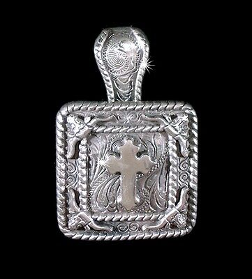"""Western Jewelry Cowgirl 1 3/8"""" Antique Silver Cross Longhorn Concho Pendant Kit"""