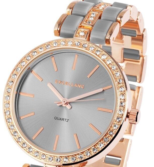Damenuhr Armbanduhr Grau/Roségold Crystalbesatz Metallarmband Excellanc 1800051