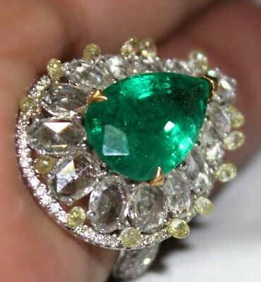 10.25 TCW Natural Green Colombian Emerald 18K White Gold Diamond Engagement Ring