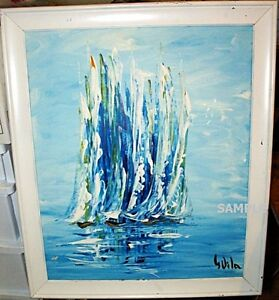 """""""Sailboats"""" Original Signed Oil Painting 1950s-60s"""