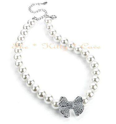 Chic Deco Vintage Novia Perlas Blancas Collar Cristales Swarovski Lazo Colgante