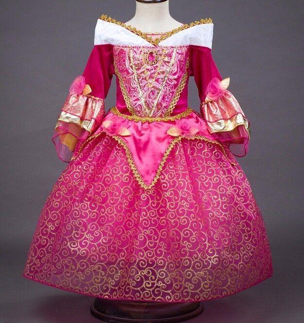 Sleeping Beauty Princess Aurora Party Dress kids Costume Dre