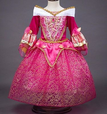 US STOCK ! Sleeping Beauty Princess Aurora Party Dress kids Costume Dress O66](Sleeping Beauty Princess Aurora)