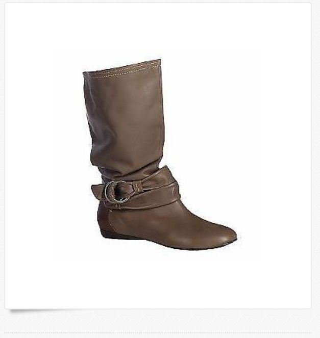 B. Makowsky Leather Slouch Boots/Strap Detail taupe 8.m new
