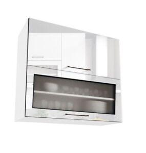 White Gloss Kitchen Unit Cabinet Cupboard Wall Gl 80cm 800mm Soft Close Roxi