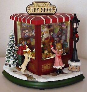 NEU Weihnachtsmann Spieluhr Santa's Toy Shop Spielzeug Geschäft LED beleuchtet