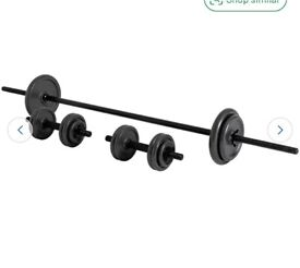 Opti 35KGS cast iron barbell and dumbbells weights set