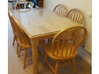 Dining table with 6 chairs plus top glass