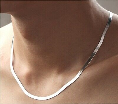 blade Flat Snake chain Necklace No Pendant men's Chain 18K White Gold GP 18