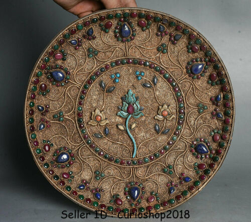 """10.6"""" Old Tibet Buddhism Filigree Gilt Inlay turquoise jewelry Flower Plate Tray"""