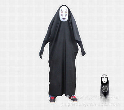 Spirited Away Faceless Men Mask Black Clothes Gloves Halloween Suit Cosplay Cost (Spirit Halloween Black Gloves)