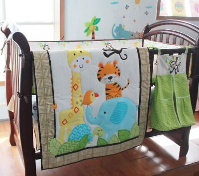 New 9 Piece Boy Baby Bedding Set Animals Nursery Quilt Bumper Sheet Crib Skirt for sale  Shipping to Canada