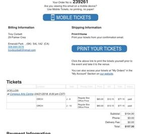 2 Cellos-Tickets for sale